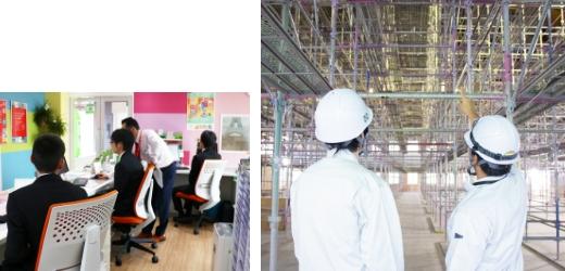 地元の高校生へ建設業、そして沢田工務店のことを知って頂くために毎年インターンシップを行っています。 写真